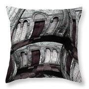 Labyrinth With Brown Doors Throw Pillow
