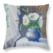 Lace And Daisey Throw Pillow by Katalin Luczay