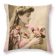 Lace And Poisies Victorian Lady Throw Pillow