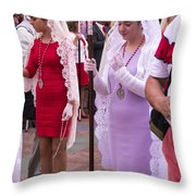 Lace Mantillas On Easter Sunday Throw Pillow