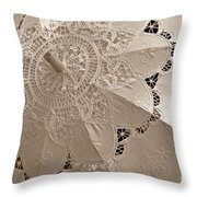 Lace Parasol In Sepia Throw Pillow