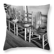 Ladder Back Chairs And Baskets Throw Pillow by Lynn Palmer