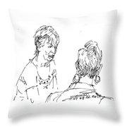 Ladies Chatting Throw Pillow