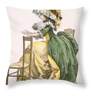 Ladies Elaborate Gown, Engraved Throw Pillow