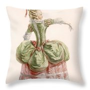 Ladies Evening Gown, Engraved By Dupin Throw Pillow