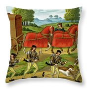 Ladies Hunting, From A Miniature Throw Pillow