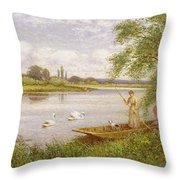 Ladies In A Punt Throw Pillow by Arthur Augustus II Glendening