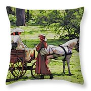 Ladies In The Meadow Throw Pillow