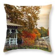 Ladies Pavilion In Autumn Throw Pillow
