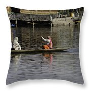 Ladies Plying A Small Boat In The Dal Lake In Srinagar - In Fron Throw Pillow