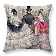Ladies Wearing Crinolines At The Royal Italian Opera Throw Pillow