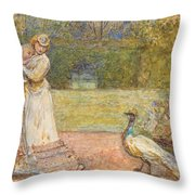 Lady And A Peacock Throw Pillow