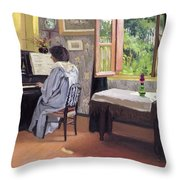 Lady At The Piano Throw Pillow by Felix Edouard Vallotton