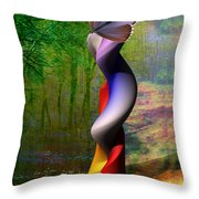 Lady At The Pond With Butterfly Throw Pillow