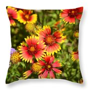 Lady Bird And Her Flowers Throw Pillow