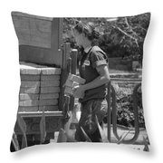 Lady Bricklayer Throw Pillow