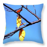 Lady Bug And Leaves Throw Pillow