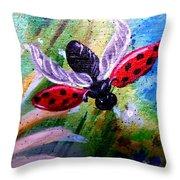 Lady Bug Landing Throw Pillow