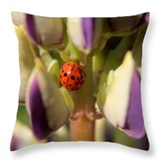 Lady Bug On Lupine Throw Pillow