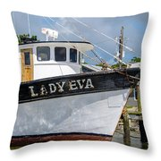 Lady Eva Shrimp Boat Throw Pillow
