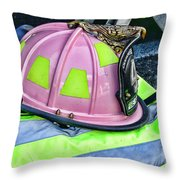 Lady Firefighter Throw Pillow