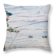 Lady Fly Fishing Throw Pillow