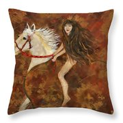 Lady Godiva Rides For Love Throw Pillow
