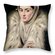 Lady In A Fur Wrap Throw Pillow