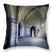 Lady In Abbey Room With Doves Throw Pillow