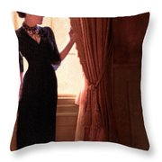 Lady In Black By Window Throw Pillow