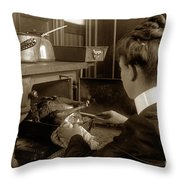 Lady In Early Kitchen Cooking Turkey Dinner 1900 Throw Pillow
