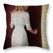 Lady In Edwardian Dress Opening A Door Throw Pillow