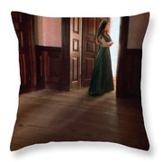 Lady In Green Gown In Doorway Throw Pillow