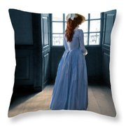 Lady In Purple Gown By Window Throw Pillow