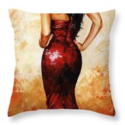 Lady In Red 035 Throw Pillow