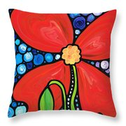 Lady In Red 2 - Buy Poppy Prints Online Throw Pillow by Sharon Cummings