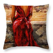 Lady In Red  34 -  I Love Budapest Throw Pillow