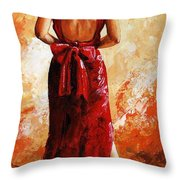 Lady In Red  39 Throw Pillow
