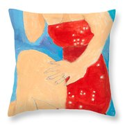 Lady In Red Throw Pillow by Don Larison