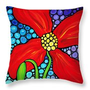 Lady In Red - Poppy Flower Art By Sharon Cummings Throw Pillow