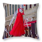 Lady In Red Watching Filming Of Today Show In Old Montreal-qc Throw Pillow