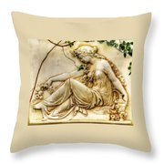 Lady In Robe And Roses Throw Pillow