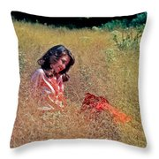 Lady In The Grass -horiz Throw Pillow