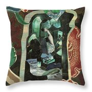 Lady In The Green Mirror Throw Pillow