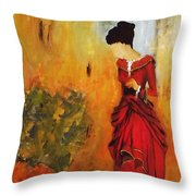 Lady In The Red Dress Throw Pillow