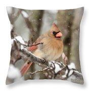 Lady In The Snow Throw Pillow
