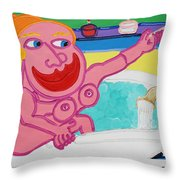 Lady In The Tub Throw Pillow