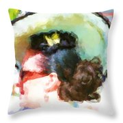 Lady In The White Hat And Trim Throw Pillow