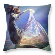Lady In Water Oil On Canvas Painting Realsim  Throw Pillow