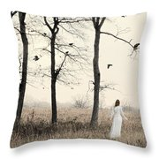 Lady In White In Autumn Landscape Throw Pillow